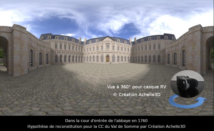 Réalite virtuelle - Vue 360 degres d'une reconstitution de patrimoine du XVIIIème siècle