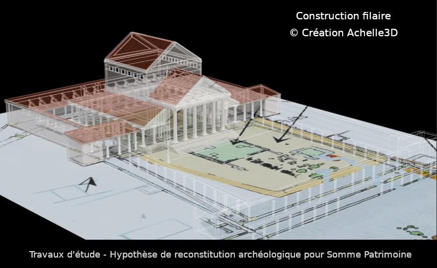 Travaux d étude archéologique par achelle3d - Reconstitution filaire